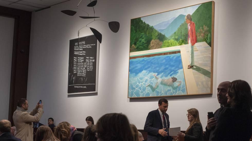 Subasta de 'Portrait of an Artist (Pool with Two Figures)', de David Hockney, en noviembre de 2018 en Nueva York.