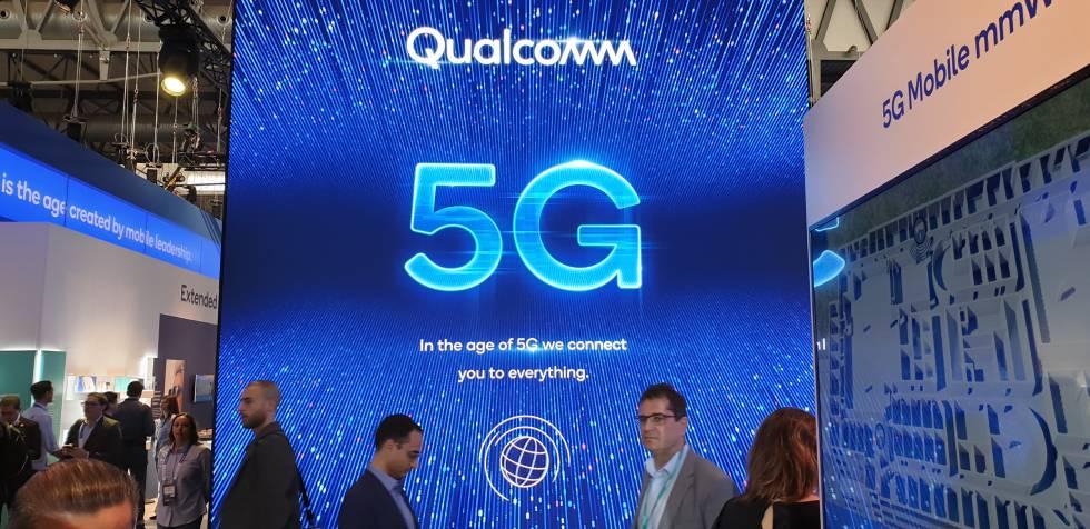 Estand de Qualcomm anunciando el 5G en el MWC19 de Barcelona.