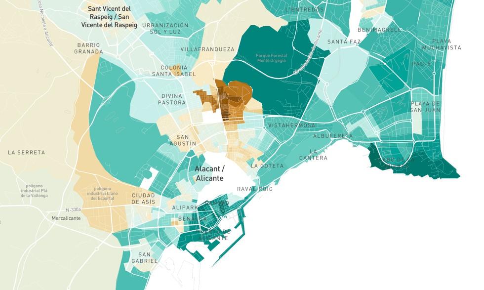 El mapa de la renta de los españoles, calle a calle