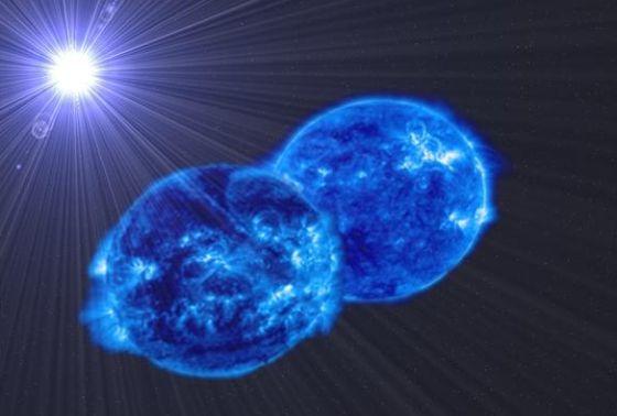 Ilustración de las dos estrellas del sistema binario MY Camelopardalis