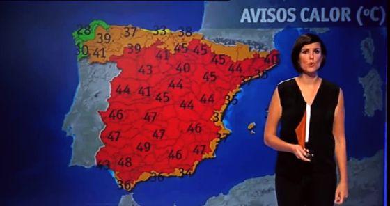 Mónica López, jefa de Información Meteorológica de TVE, dando el tiempo del 10 de agosto de 2050. / TVE/