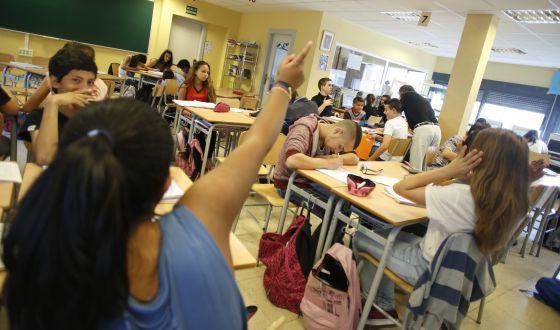 Una clase en un instituto de secundaria de Madrid.
