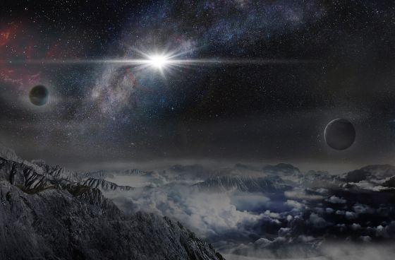 Reconstrucción de la supernova ASASSN15lh, vista desde un exoplaneta que estuviera a 10.000 años luz de la estrella.