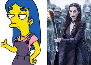 À esquerda, o personagem de 'Os Simpsons' inspirado em Melisandre (Carice Van Houten) criado pelos roteiristas da série. À direita, Melisandre apronta das suas em 'Game of Thrones'