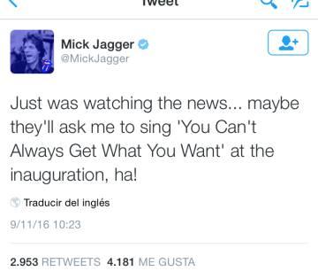 El mensaje de Jagger nada más terminar su discurso Trump.