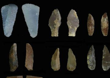 Algunas de las herramientas de piedra halladas en la cueva del Kaldar (Irán).