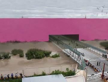 Simulación del muro en la frontera entre EE UU y México diseñado por el estudio mexicano 3.14.