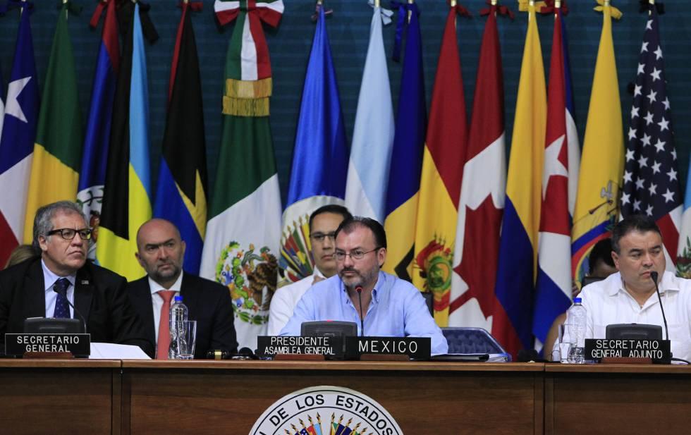 Aspecto de la 47 Asamblea General de la Organización de Estados Americanos (OEA), en Cancún.