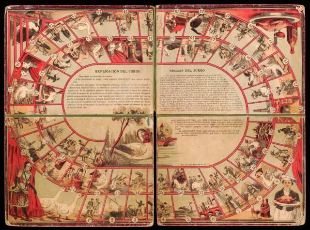 Tablero del juego de la Oca del siglo XIX.