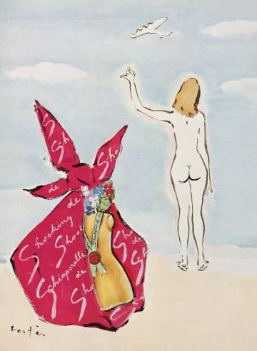 Ilustración de Marcel Vertès para la fragancia Shocking de Shiaparelli. Ambos empezaron a colaborar en 1937.