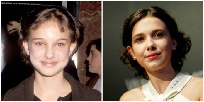 A la izquierda, Natalie Portman en 1994; y a la derecha, Millie Bobby Brown en 2017.