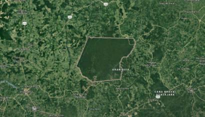 Imagem aérea da Terra Indígena Arariboia, na Amazônia brasileira. Essa floresta, lar da tribo Awá, é uma ilha verde no meio de um mar de desmatamento.