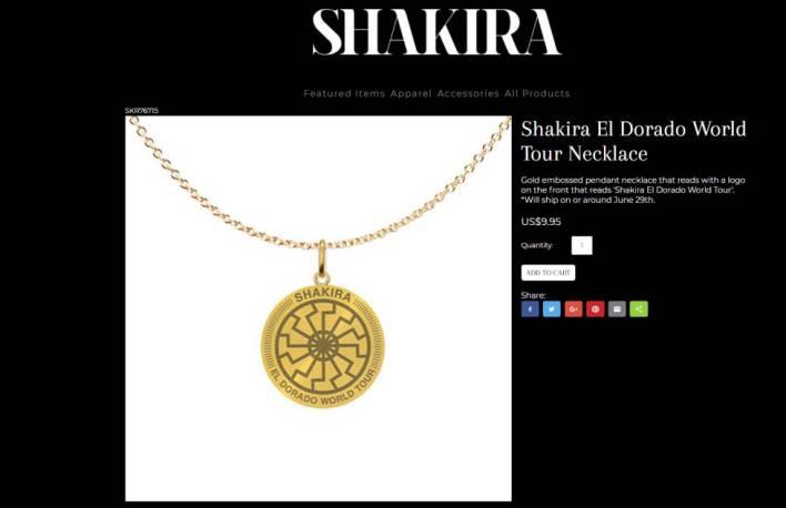 El colgante del sol negro que se vende en la web de Shakira.