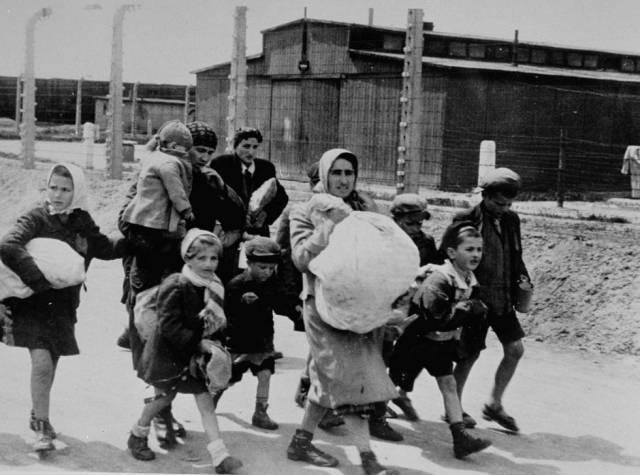 Mujeres y niños judíos seleccionados para morir caminan hacia la cámara de gas en Auschwitz, en 1944.