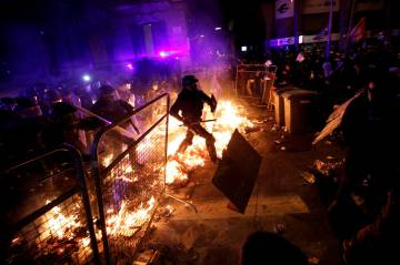 Clashes in Barcelona on October 15 over the sentencing of separatist leaders.