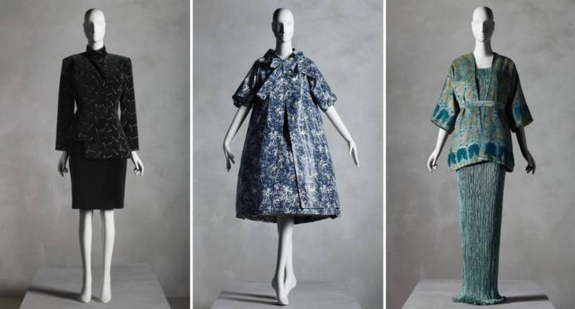 From left to right, Patrick Kelly's suit (fall-winter 1988-1989), dress and coat set by Yves Saint Laurent for Dior (spring-summer 1958) and dress with jacket by Mariano Fortuny (1920s-1930s).