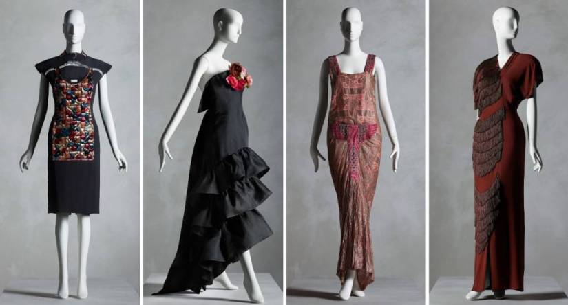 From left to right, designs by Karl Lagerfeld for Chloé (spring-summer 1984), Cristóbal Balenciaga (summer 1961), Madeleine & Madeleine (1923) and Gilbert Adrian (autumn 1945).