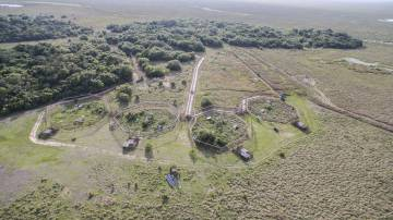 Aerial view of the pens of the reintegration center of Rewilding Argentina, in the Esteros del Ibera.