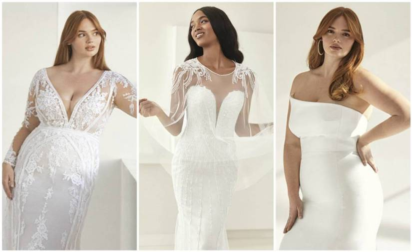 Some of the designs from the new Ashley Graham x Pronovias collection.