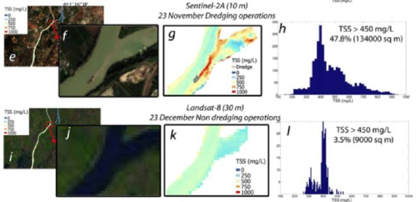 Images of the research on the use of the 'Sentinel' to monitor the effects of dredging.  Above, data obtained with the Copernicus program satellite.  Below, another obtained by older, low-resolution satellites.