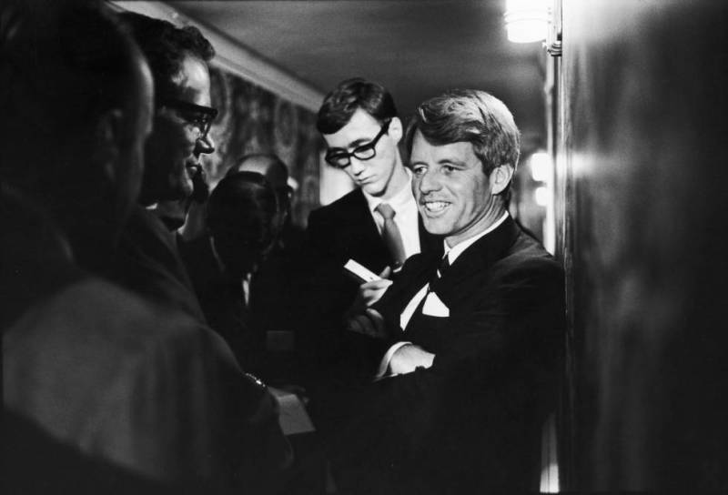 Robert Kennedy speaking to reporters on June 5, 1968, the day before he was killed.