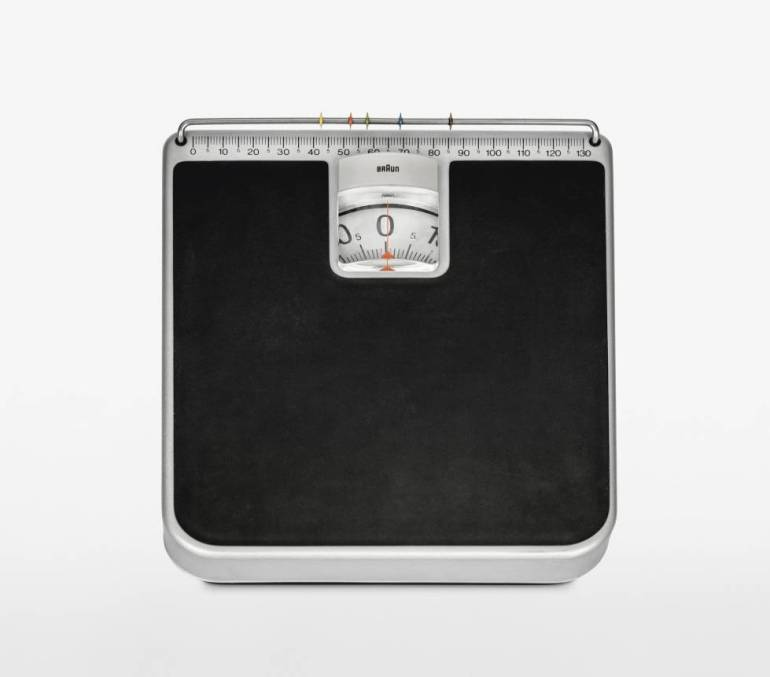 HW1 from Braun.  Household scale on which each member of the family can record their weight.  Designed by Rams and Lubs in 1968.