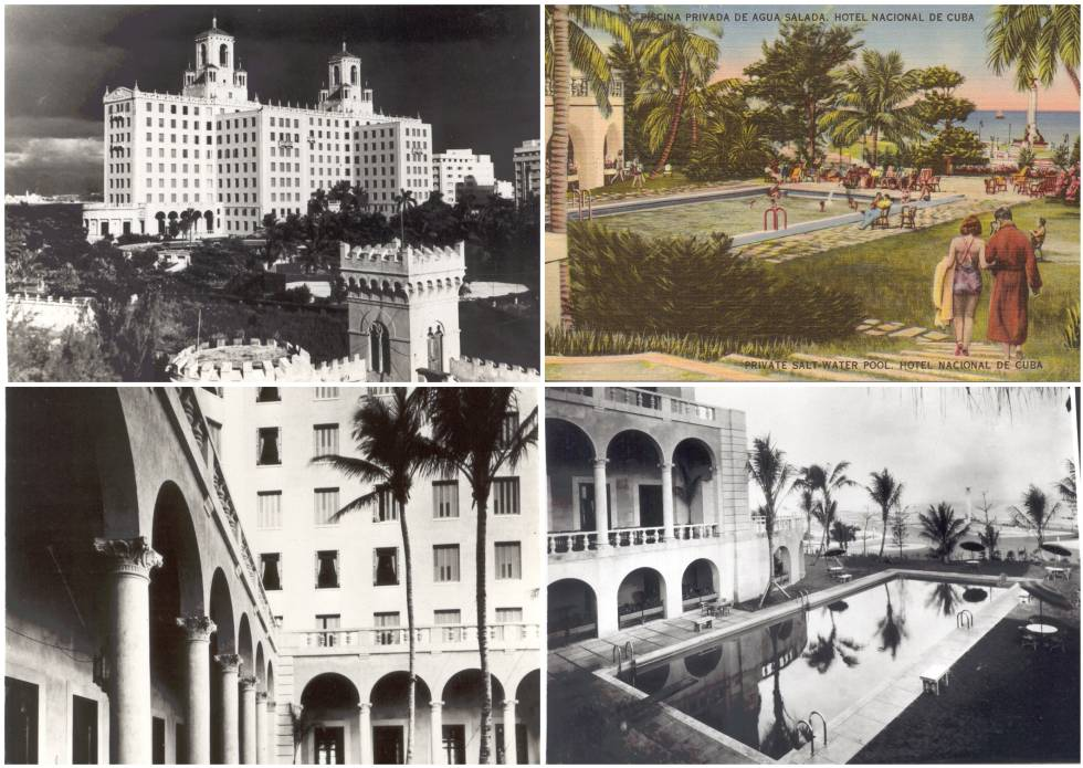 Historical images of the building.  Top right, a promotional postcard.