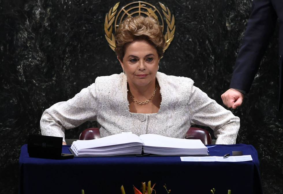 La presidenta de Brasil, Dilma Rousseff, ante la ONU en Nueva York.