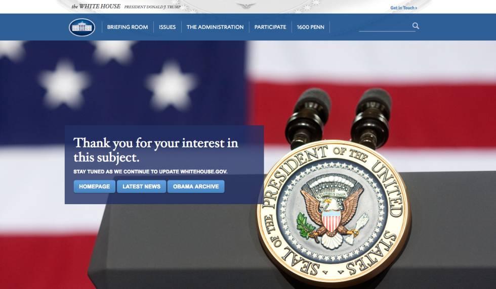 La página web de la Casa Blanca donde habría estado alojado el historial de visitas.