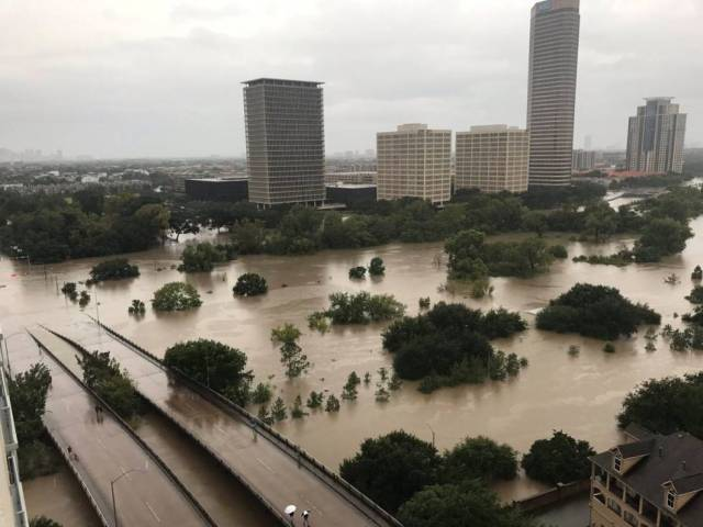 Aspecto de la zona de Buffalo Bayou, Houston, el domingo.