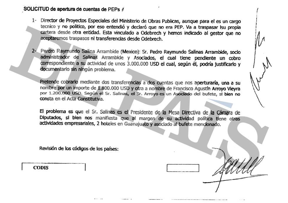 Acta de compliance (cumplimiento) de la Banca Privada d'Andorra (BPA) donde se menciona al embajador de México en Uruguay, Francisco Arroyo Vieyra.