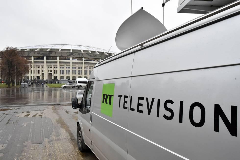 Una furgoneta de Russia Today en Moscú en una imagen de archivo.