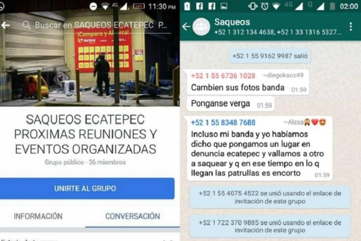 Capturas de pantalla de grupos en redes sociales en los que se organizan saqueos en el Estado de México.