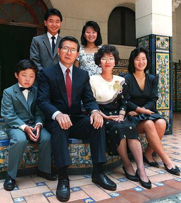 La familia Fujimori, en junio de 1990.