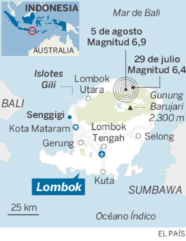 Mapa localizador de Lombok, en Indonesia