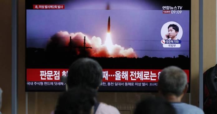 La transmisión de TV de los lanzamientos de misiles, el pasado 16 de agosto.