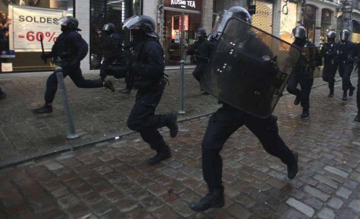 Carga policial el 9 de enero en Lille, en el norte de Francia