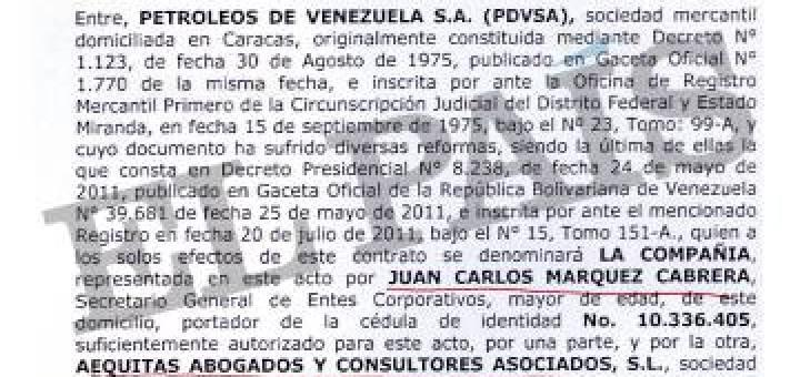 Uno de los contratos entre el hijo de Raúl Morodo y la petrolera venezolana.