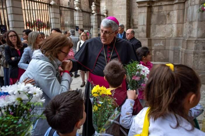 El arzobispo de Toledo, Braulio Rodríguez, en la ofrenda floral del Corpus Christi, el pasado mes de mayo.