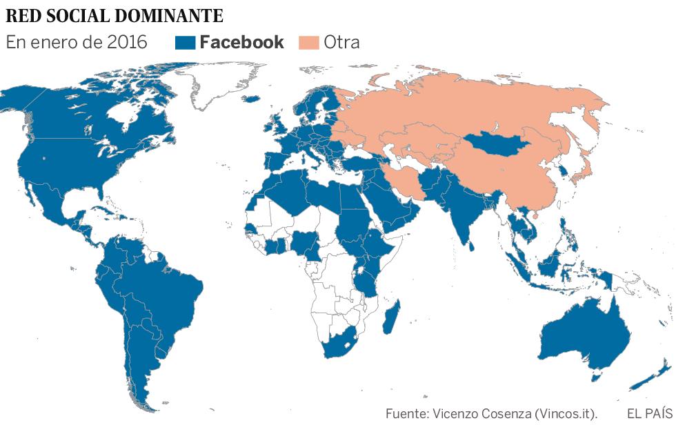 Red social dominante en cada país del mundo: Facebook es la más extendida
