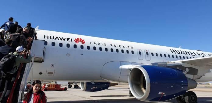 Avión fletado por Huawei desde España para la presentación del P30 en París.
