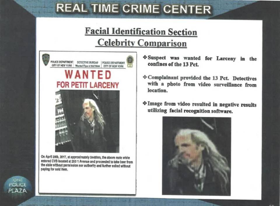 Imagen del actor Woody Harrelson usada por la policía de Nueva York para identificar a un delincuente.