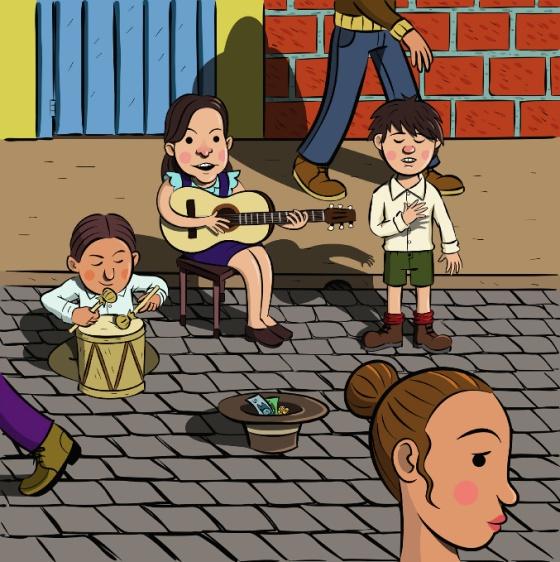 La cantautora Violeta Parra ilustrada por
