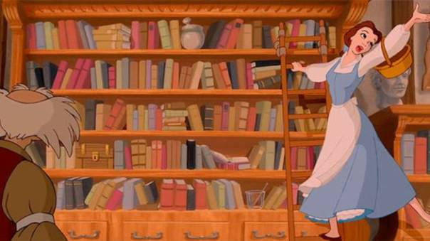 Bella, poniendo nervioso a un librero