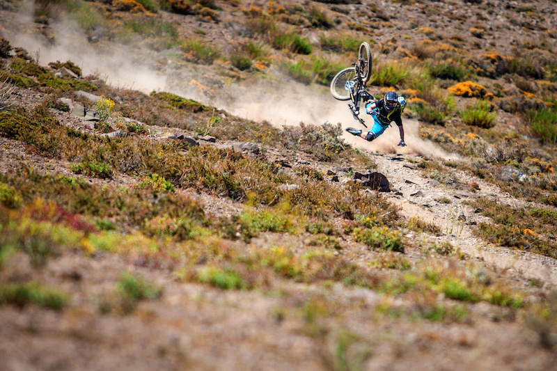 The Chilean anti grip soil caught most competitors in the Andes Pacifico off guard at least once. Here Joey Schusler takes a high speed tumble on day one stage two.