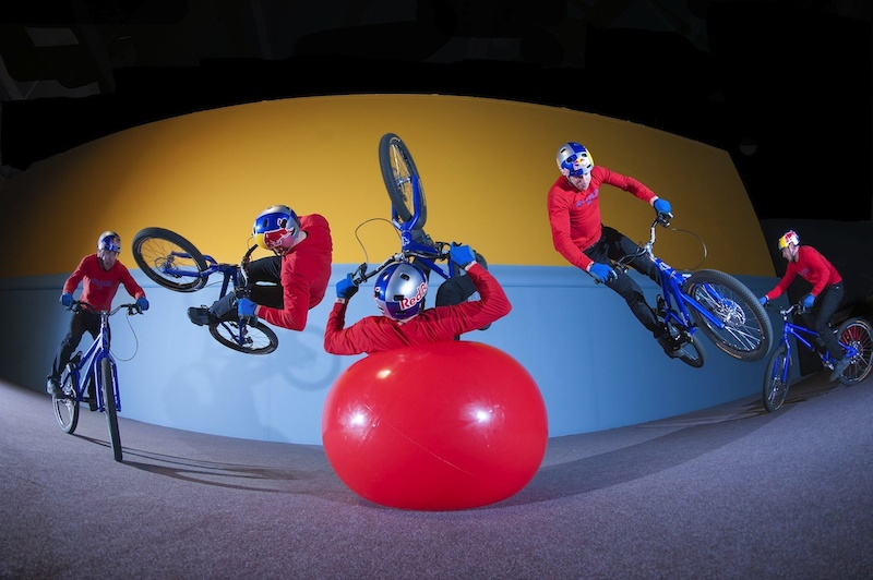 Danny MacAskill has fun with performing a 180 flip during the Imaginate filming in Glasgow United Kingdom February 7th 2013 Fred Murray