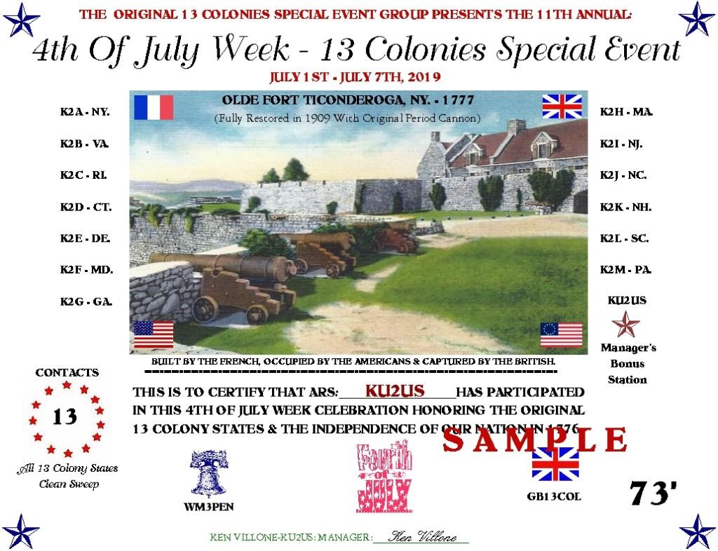 13 Colonies 2019 certificate image