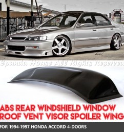 details about for 94 97 honda accord 4dr 1pc rear window roof visor sun guard block smoked [ 1600 x 1600 Pixel ]