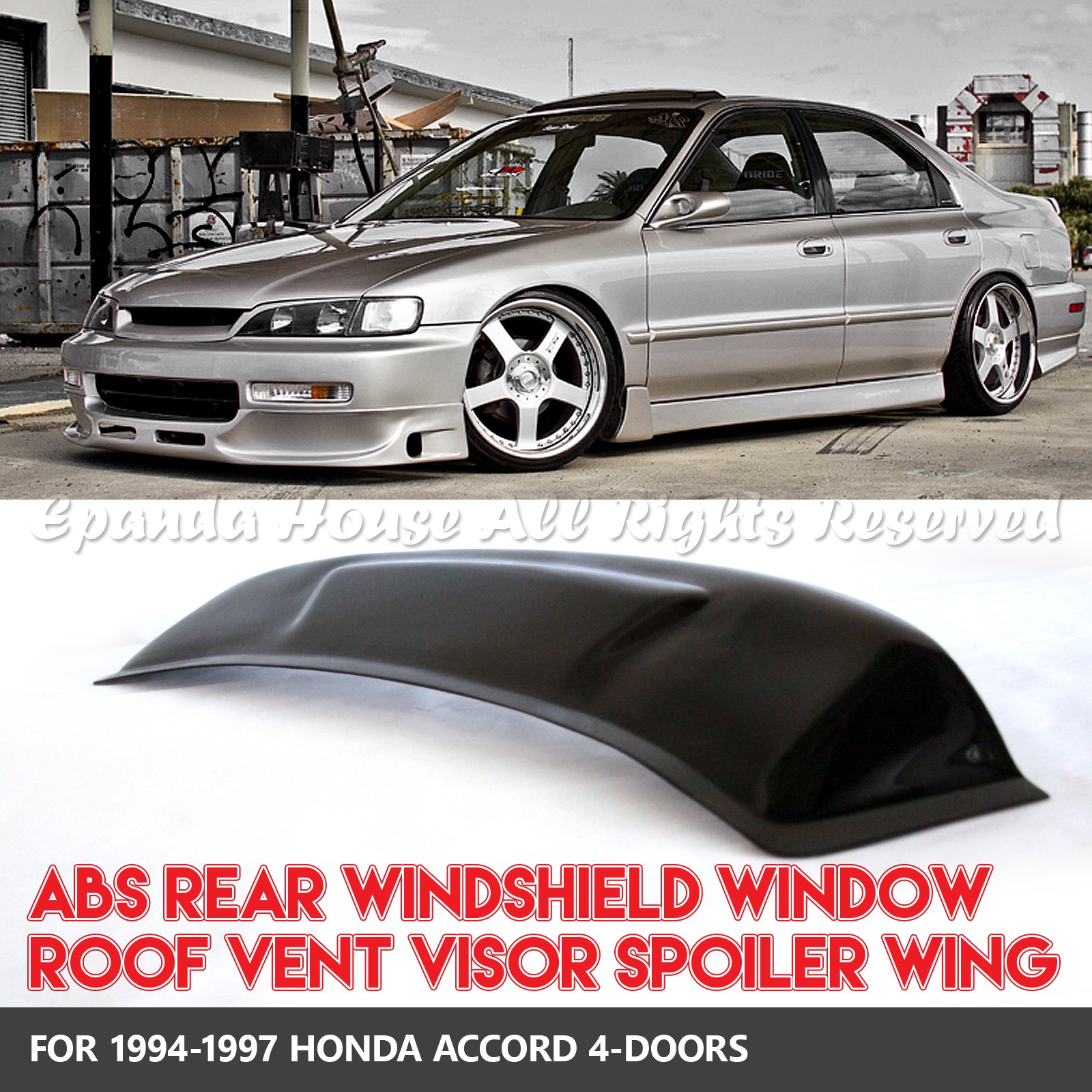 hight resolution of details about for 94 97 honda accord 4dr 1pc rear window roof visor sun guard block smoked
