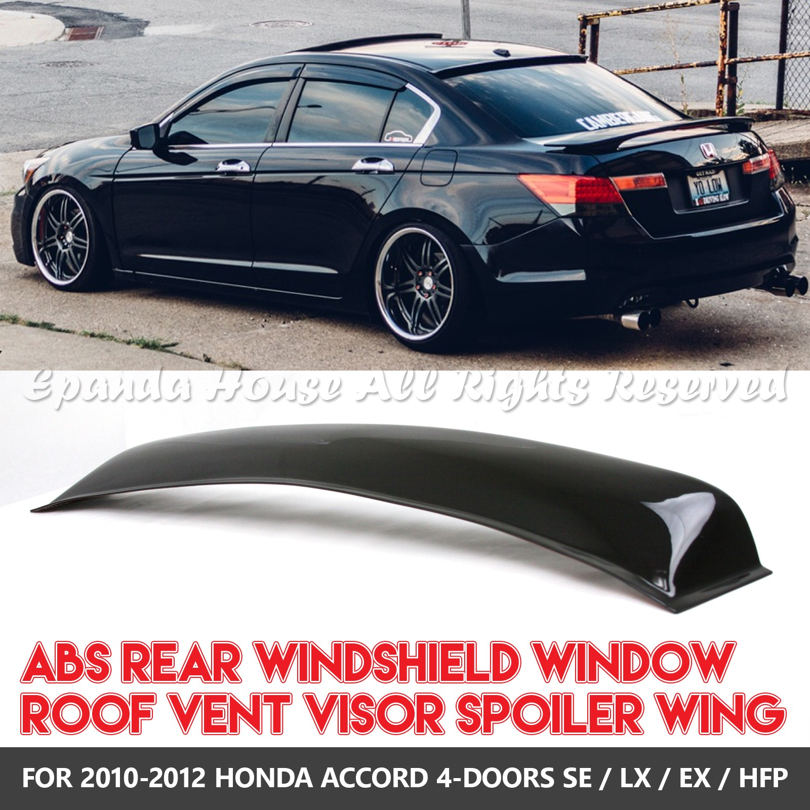 hight resolution of details about made for 10 12 honda accord 4dr 1pc rear window spoiler sun guard smoked visor